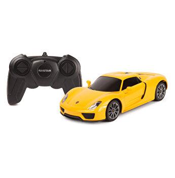 Masina cu telecomanda Porsche 918 Spyder, galben, scara 1 la 24