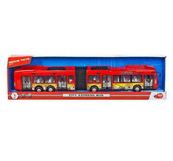 Autobuz Dickie Toys - City Express, rosu, 46 cm