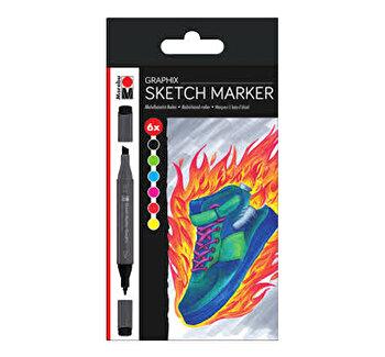 Set 6 markere Sketch Graphix Heat Marabu