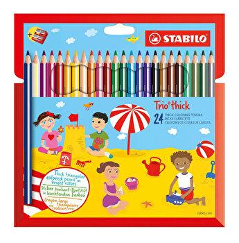 Stabilo - Set Trio Thick, 24 creioane colorate cu ascutitoare