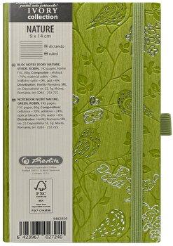 Bloc Notes Ivory Nature, 192 pagini, dictando, coperta PU, verde, motiv Robin