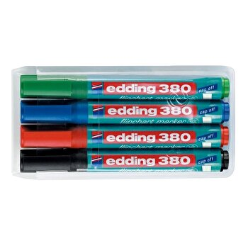 Marker Edding 380 pentru flipchart, varf rotund, 1.5-3 mm, 4 culori/set (negru, albastru, rosu, verde)