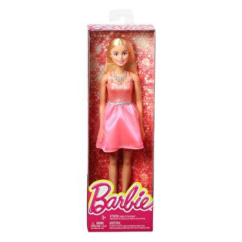 Papusi Barbie blonda in tinuta stralucitoare , rochita roz deschis