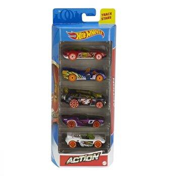Set 5 masini, Hot Wheels Action, scara 1 la 64