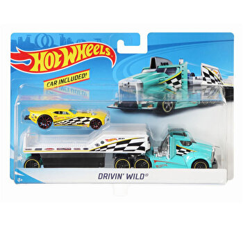 Set camion si masina sport, Hot Wheels Driving Wild