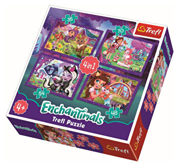 Puzzle Trefl 4in1 Enchantimals distractie in padure