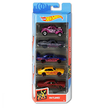 Set 5 masini, Hot Wheels Flacari