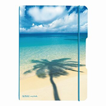 Caiet My.Book Flex A4, dictando+patratele, 2x40 file, coperta Palmier cu logo albastru