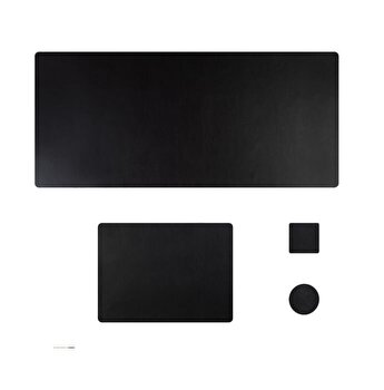 Set mapa birou Flexi pentru protectie, Unika, din piele PU, 1 suport farfurie si 2 suporturi pahar, negru 90 cm