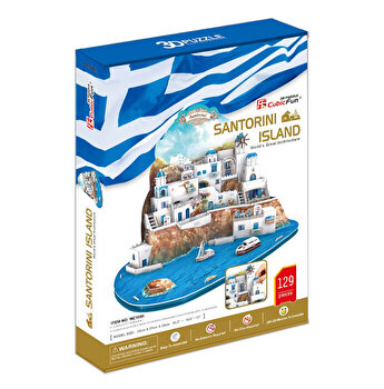 Puzzle 3D - Insula Santorini, 129 piese