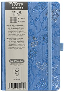 Bloc Notes Ivory Nature, 192 pagini, patratele, coperta PU, bleu, motiv Robin
