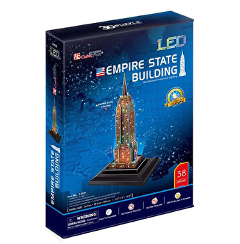 Puzzle 3D Led - Empire State Building, 38 piese