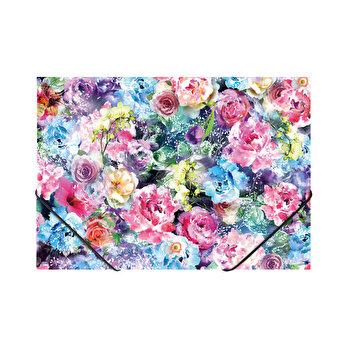Mapa PP, plastic, inchidere cu elastic, A4, Trandafiri