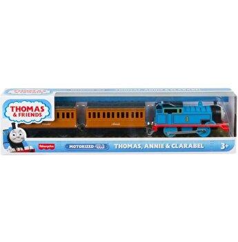Locomotiva Thomas Friends, Annie si Clarabel, motorizata, cu 2 vagoane si accesorii