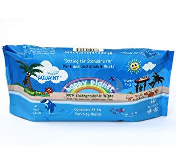Servetele umede biodegradabile Aquaint - Happy Planet, 60 buc