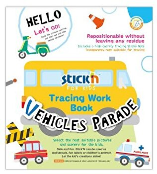 Carte educativa Stick'n Tracing Work Book - Vehicles Parade