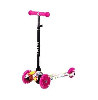 Trotineta pentru copii, 3 roti cu leduri, Mini, Pink Flowers