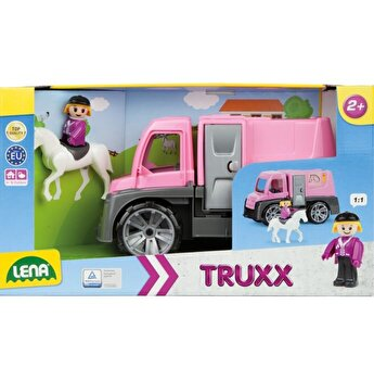 Camion Truxx transport cai, din plastic, roz