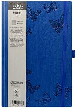 Bloc Notes Ivory Nature, 240 pagini, patratele, coperta PU, bleu, motiv Butterfly