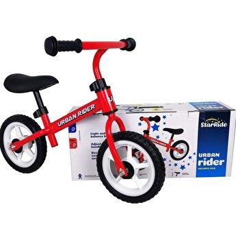 Bicicleta fara pedale, cadru metal, rosu