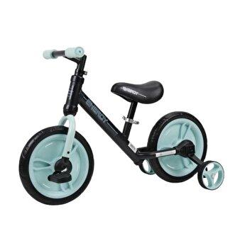 Bicicleta de tranzitie 2 in 1, Energy, cu pedale si roti auxiliare, Black & Green