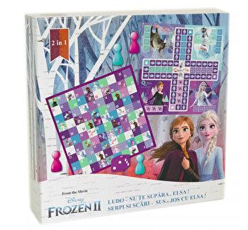 Joc 2 in 1 Frozen - Ludo/Nu te supara Elsa + Serpi si scari/Sus - jos cu Elsa