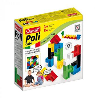 Quercetti Poli Cubi - Set constructie Forme multicolore, 19 piese