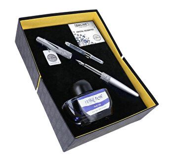 Set Online Crystal Celebrites, stilou argintiu cu cristale Swarovski, convertor, calimara cerneala albastra