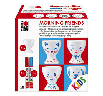 Set pentru pictura pe portelan Morning Friends Marabu
