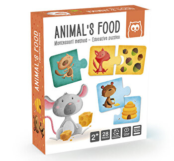 Puzzle educativ Montessori - Animale si hrana lor
