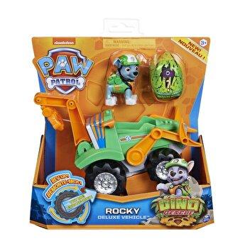 Patrula Catelusilor, Set vehicul cu catelus Rocky si figurina Dino surpriza