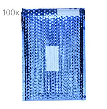 Plic cu bule antisoc E2, set de 100 buc, 26 x 22cm, plic cu folie laminata care protejeaza foarte bine continutul, cu fereastra de scriere destinatar/expeditor, plicuri termoizolante pentru ambalat, lipire autoadeziva, Office Depot, albastru