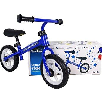 Bicicleta fara pedale, cadru metal, albastru