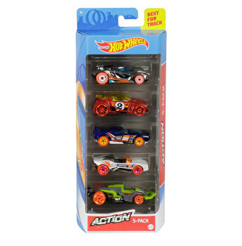 Set 5 masini, Hot Wheels Action