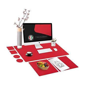 Set mapa birou Family & Friends pentru protectie birou, Unika, din piele PU cu 2 suporturi farfurie si 4 suporturi pahar, negru, 69 cm