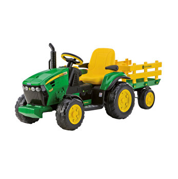Tractor electric JD Ground Force, W/Trailer, 12V, galben/verde