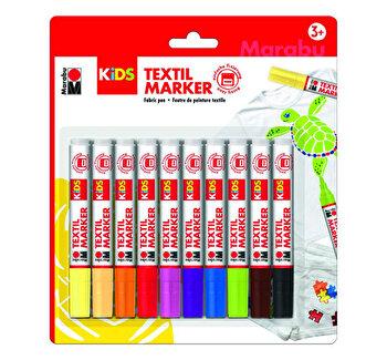 Set 10 markere pentru materiale textile Marabu