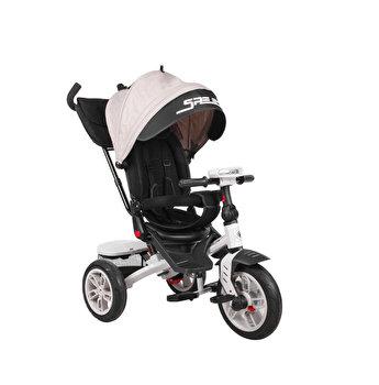 Tricicleta multifunctionala 4 in 1, Speedy Air, roti cu camera, scaun rotativ, Ivory&Black