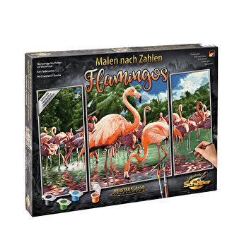 Kit pictura pe numere Schipper - Flamingo, 3 tablouri