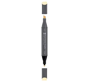 Marker pentru schite cu doua capete Graphix Marabu, 1-7 mm, Pastel Yellow