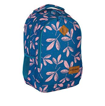 Ghiozdan Head HD-60, 2 compartimente, albastru, design frunze roz