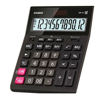 Calculator de birou Casio GR-12-W-EP, 12 digits, negru