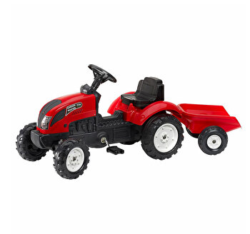 Tractor pentru copii, cu pedale si remorca, Falk, rosu