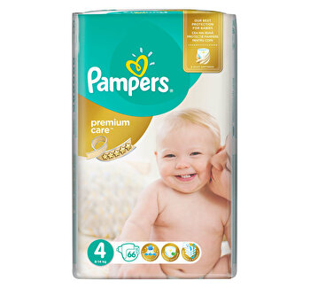 Scutece Pampers Premium Care Maxi 4 Jumbo Pack, 8-14 kg, 66 buc