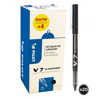 Roller Pilot V7 Hi-Tecpoint, 0.7 mm, negru, 20 buc.