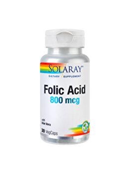 Supliment alimentar Solaray by Secom Folic Acid 800mcg 30 capsule vegetale de la Solaray by Secom