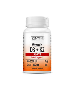 Suplimente alimentare cu 5000 UI vitamina D3/capsulă Zenyth Vitamina D3 + K2 Forte 30 capsule de la Zenyth
