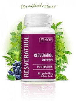 Supliment de antioxidanți pentru protecție de la nivel celular Zenyth Resveratrol cu seleniu 30 capsule de la Zenyth