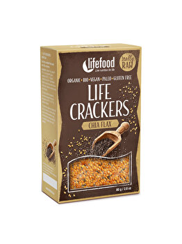 Lifecrackers cu chia si in Lifefood raw bio fara gluten, 80 g