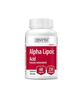 Supliment alimentar pentru sănătatea sistemului nervos și a celui cardiovascular Zenyth Alpha Lipoic Acid 60 capsule x 250 mg de la Zenyth